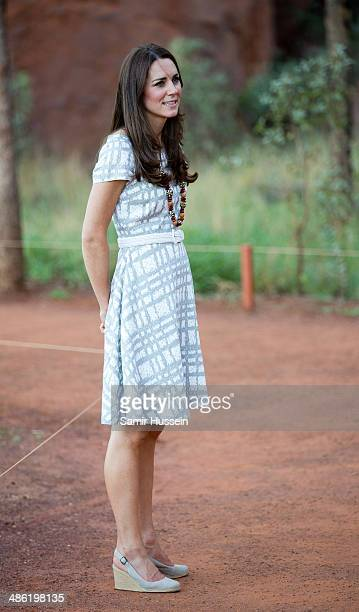 Catherine Duchess of Cambridge walks around Ayers Rock on April 22 2014 in Ayers Rock Australia The Duke and Duchess of Cambridge are on a threeweek...