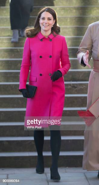 Catherine Duchess of Cambridge walks around Coventry Cathedral during their visit to the city on January 16 2018 in Coventry England