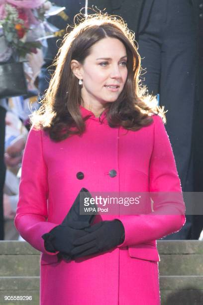 Catherine, Duchess of Cambridge walks around Coventry Cathedral during their visit to the city on January 16, 2018 in Coventry, England.