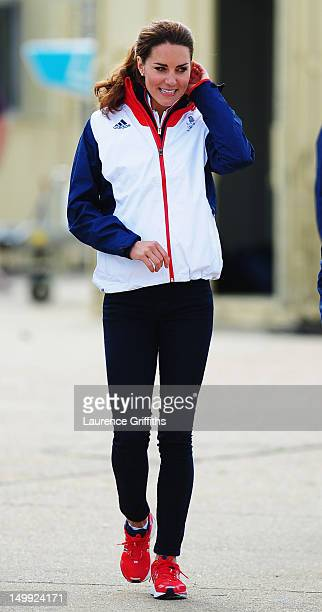 Catherine Duchess of Cambridge walks in the boat park on Day 10 of the London 2012 Olympic Games at the Weymouth Portland Venue at Weymouth Harbour...