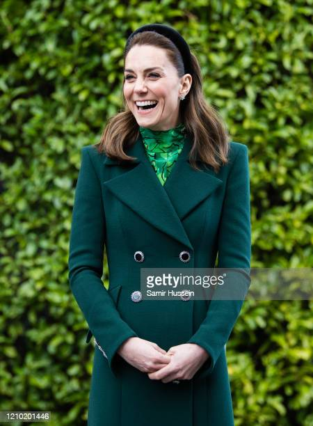 Catherine, Duchess of Cambridge walks in the gardens during a meeting at Áras an Uachtaráin on March 03, 2020 in Dublin, Ireland. The Duke and...