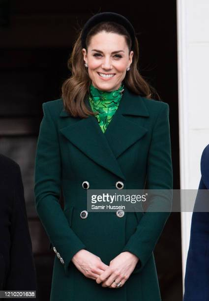 Catherine, Duchess of Cambridge walks in the gardens of Áras an Uachtaráin on March 03, 2020 in Dublin, Ireland. The Duke and Duchess of Cambridge...