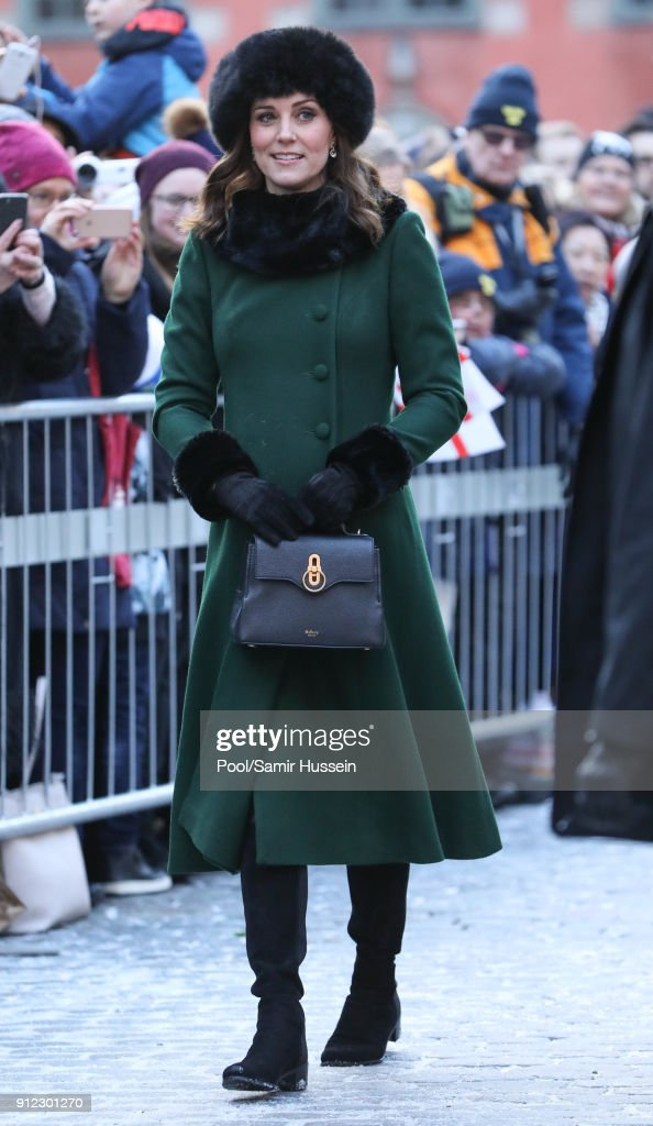 Catherine, Duchess of Cambridge walks through the cobbled streets of Stockholm from the Royal Palace to the Nobel Museum during day one of their Royal visit to Sweden and Norway on January 30, 2018 in Stockholm, Sweden.