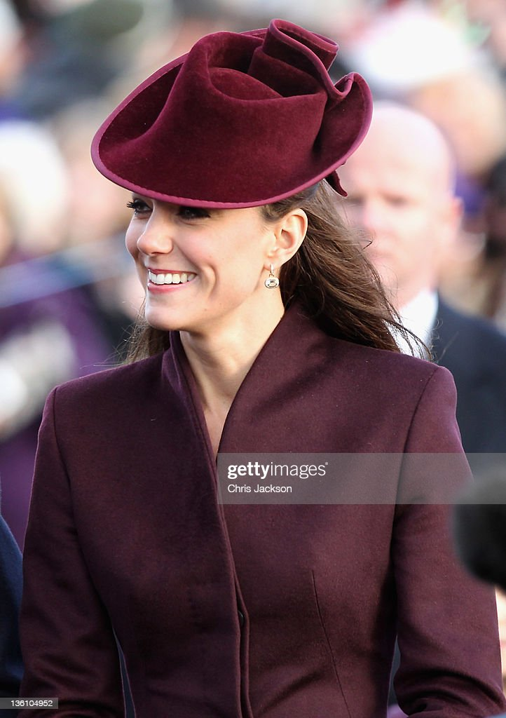 Catherine, Duchess of Cambridge walks to Sandringham Church for the traditional Christmas Day service at Sandringham on December 25, 2011 in King's Lynn, England. The Queen and the Duke of Edinburgh traditionally lead the royals in attending a church service at Sandringham Church on Christmas Day. It is the Duchess of Cambridge's first Christmas at Sandringham after her marriage to Prince William, Duke of Cambridge in April of this year. This year the Duke of Edinburgh mised the service as he is in Papworth Hospital after having cardiac surgery to fit a stent in his coronary artery.