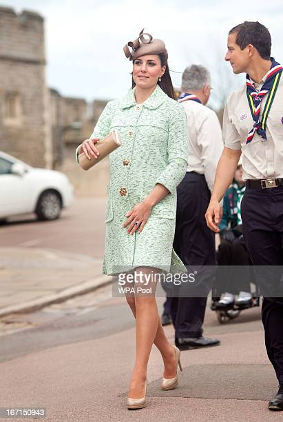 Catherine Duchess of Cambridge walks with Chief Scout Bear Grylls as she attends the National Review of Queen's Scouts at Windsor Castle on April 21...