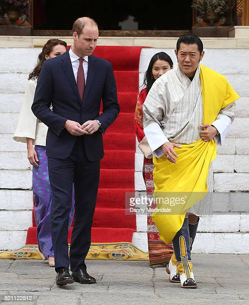 Catherine, Duchess of Cambridge walks with HM Jetsun Pema Wangchuck, King Jigme Khesar Namgyel Wangchuck and Prince William, Duke of Cambridge in the...
