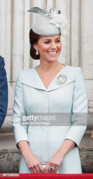 Catherine Duchess of Cambridge watches a flypast to mark the centenary of the Royal Air Force from the balcony of Buckingham Palace on July 10 2018...
