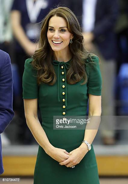 Catherine, Duchess of Cambridge watches a game of volleyball as she visits Kelowna University during the Royal Tour of Canada on September 27, 2016...