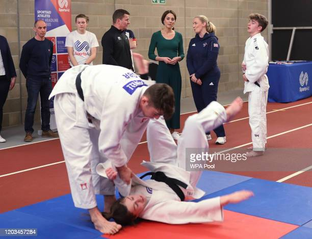 Catherine, Duchess of Cambridge watches a Judo display during a SportsAid Stars event at the London Stadium in Stratford on February 26, 2020 in...