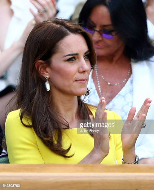Catherine Duchess of Cambridge watches on from The Royal Box on day ten of the Wimbledon Lawn Tennis Championships at the All England Lawn Tennis and...