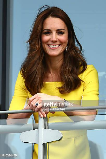 Catherine Duchess of Cambridge watches on over the outdoor courts during the Wheelchair Singles matches on day ten of the Wimbledon Lawn Tennis...