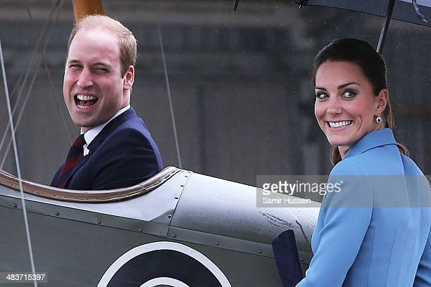 Catherine Duchess of Cambridge watches Prince William Duke of Cambridge sit in a plane as they attend a WW1 commemorative and Flying Day at Omaka...
