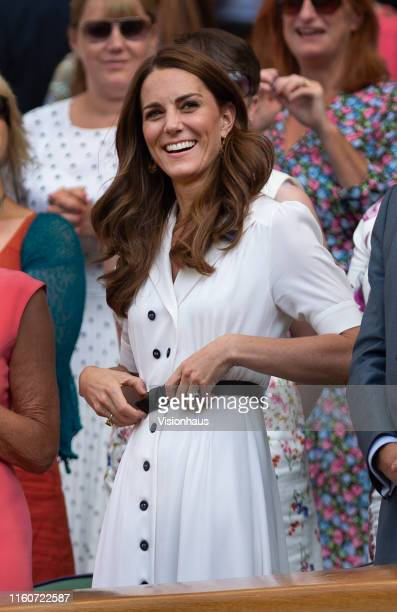 Catherine Duchess of Cambridge watches the action on Centre Court form the Royal Box during Day Two of The Championships Wimbledon 2019 at All...