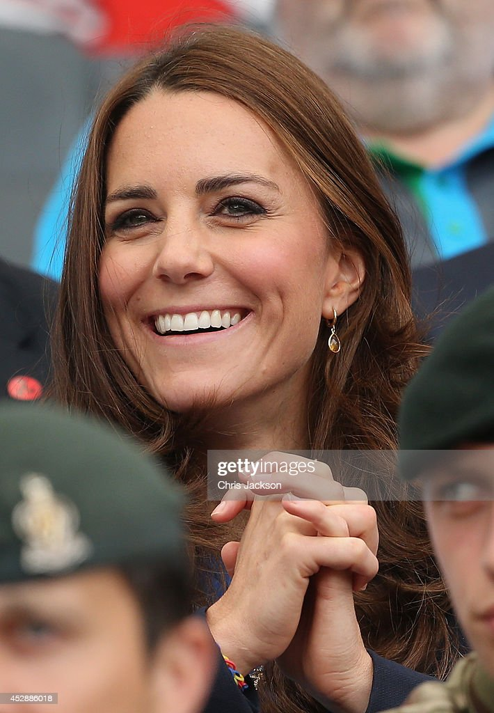 Catherine, Duchess of Cambridge watches the athletics at Hampden Park as she attends the Commonwealth Games on July 29, 2014 in Glasgow, Scotland.