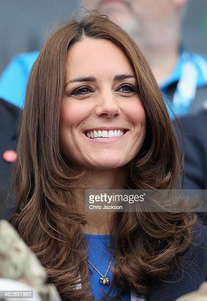 Catherine Duchess of Cambridge watches the athletics at Hampden Park while attending the Commonwealth Games on July 29 2014 in Glasgow Scotland
