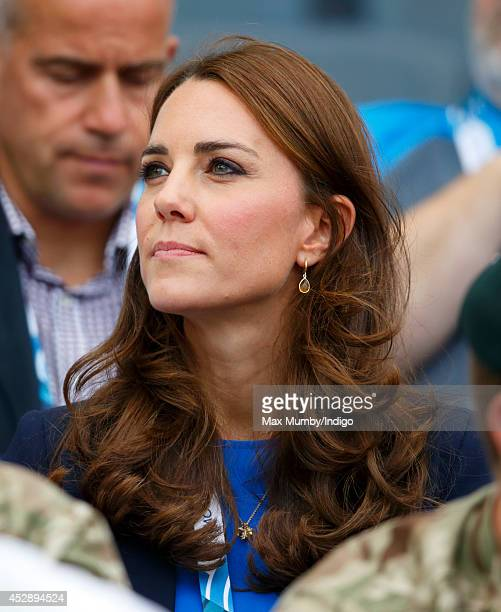 Catherine Duchess of Cambridge watches the athletics at Hampden Park during the 20th Commonwealth Games on July 29 2014 in Glasgow Scotland