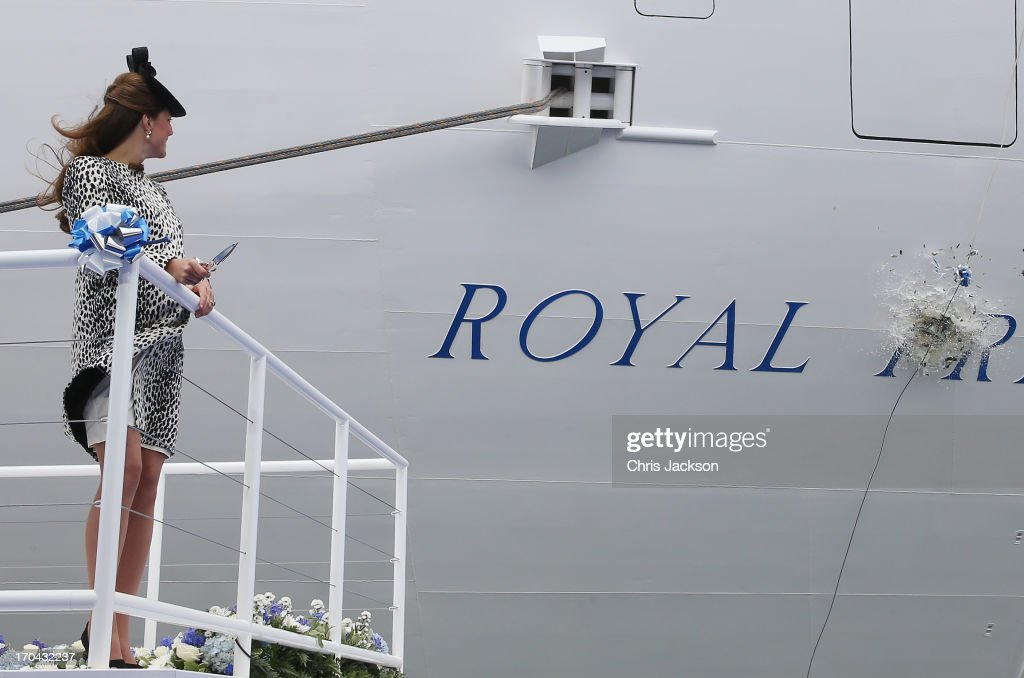 Catherine, Duchess of Cambridge watches the bottle of Moet & Chandon Brut Imperial Champagne break against the ship for the Princess Cruises naming ceremony at Ocean Terminal on June 13, 2013 in Southampton, England.