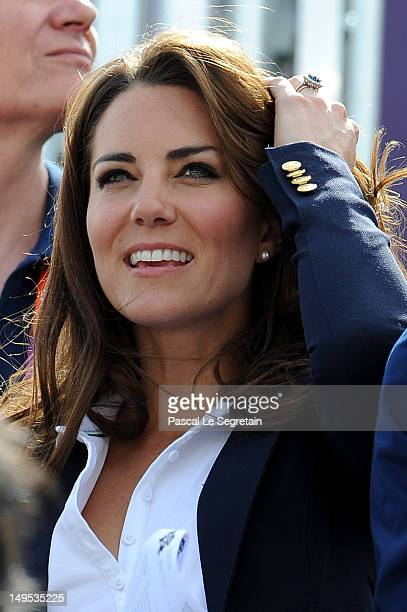 Catherine Duchess of Cambridge watches the Eventing Cross Country Equestrian event on Day 3 of the London 2012 Olympic Games at Greenwich Park on...