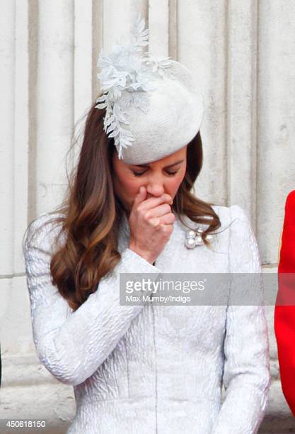 Catherine Duchess of Cambridge watches the flypast from the balcony of Buckingham Palace during Trooping the Colour Queen Elizabeth II's Birthday...