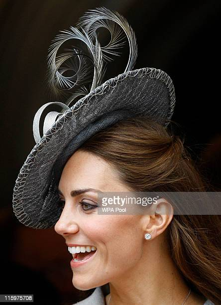 Catherine, Duchess of Cambridge watches the Garter Service pass by on June 13, 2011 in Windsor, England. The Order of the Garter is the senior and...