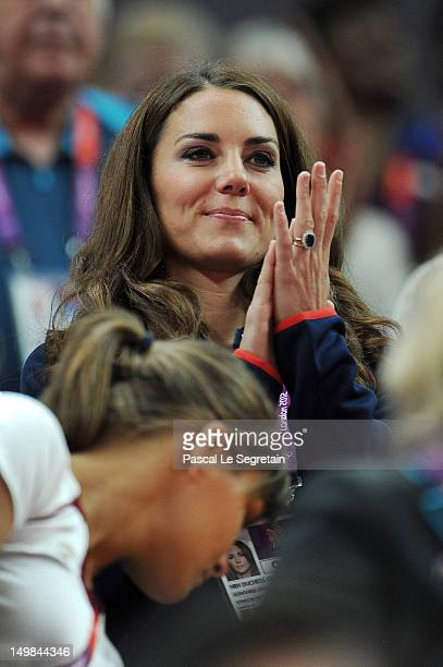 Catherine Duchess of Cambridge watches the Gymnastics on Day 9 of the London 2012 Olympic Games at North Greenwich Arena on August 05 2012 in London...