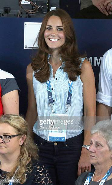 Catherine Duchess of Cambridge watches the swimming at Tollcross Swimming Centre during the 20th Commonwealth games on July 28 2014 in Glasgow...