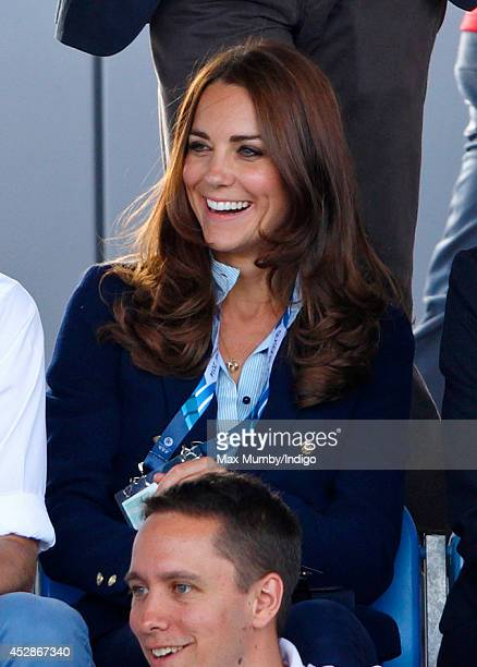 Catherine Duchess of Cambridge watches the Wales v Scotland Hockey match at the Glasgow National Hockey Centre during the 20th Commonwealth Games on...