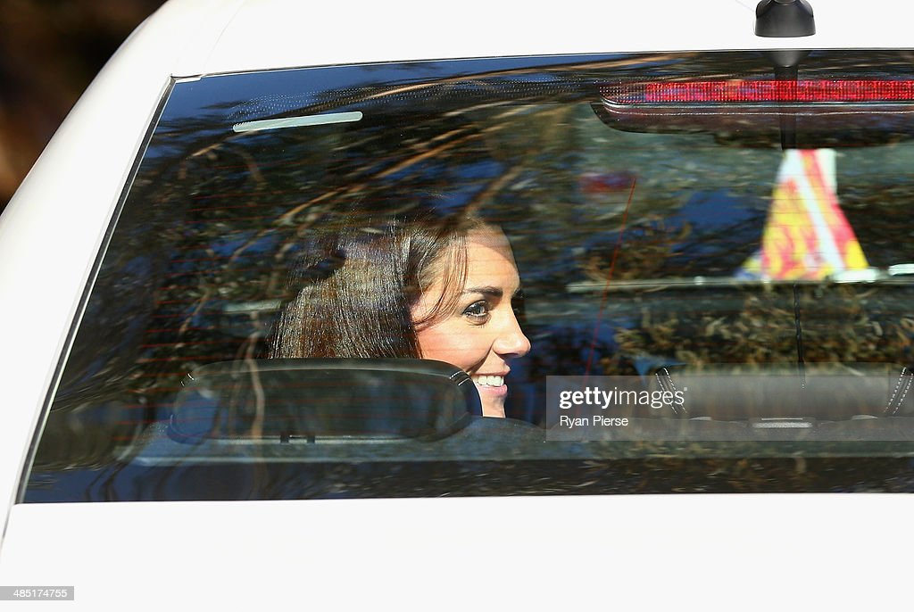 Catherine, Duchess of Cambridge, waves on departure after observing abseiling and team building exercises at Narrow Neck Lookout on April 17, 2014 in Katoomba, Australia. The Duke and Duchess of Cambridge are on a three-week tour of Australia and New Zealand, the first official trip overseas with their son, Prince George of Cambridge.