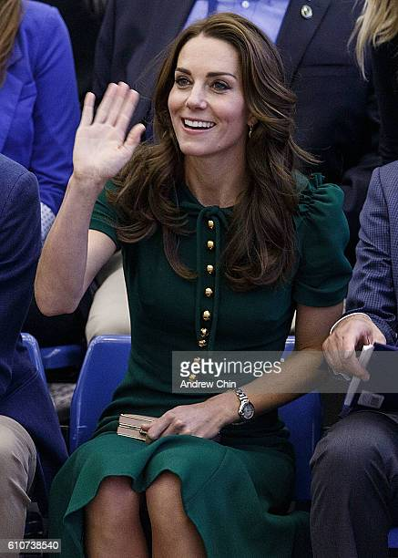 Catherine Duchess of Cambridge waves to the crowd during a volleyball match at University of British Columbia Okanagan on September 27 2016 in...