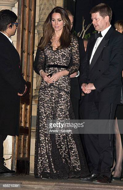 Catherine, Duchess of Cambridge, wearing a black lace Temperley evening gown for the third time, attends the screening of David Attenborough's...