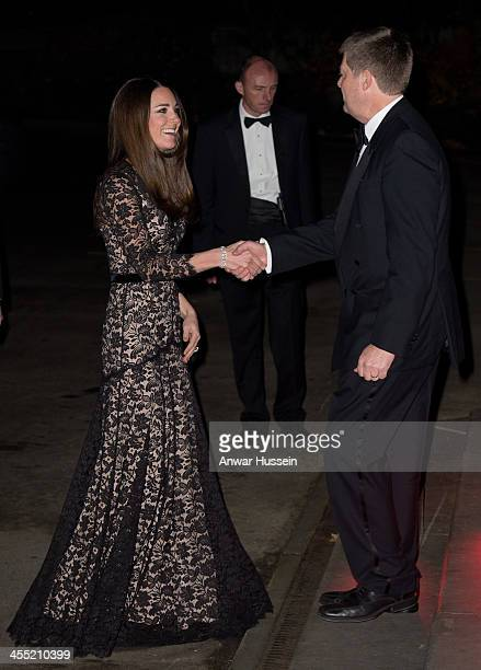 Catherine Duchess of Cambridge wearing a black lace Temperley evening gown for the third time attends the screening of David Attenborough's Natural...