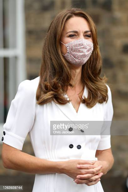 Catherine Duchess of Cambridge wearing a face mask leaves after a visit to Baby Basic UK Baby Basics Sheffield on August 04 2020 in Sheffield England...