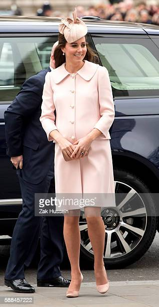Catherine Duchess of Cambridge wearing an Alexander McQueen coat and Jane Taylor fascinator attends the Observance for Commonwealth Day Service At...