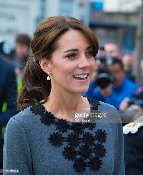 Catherine Duchess of Cambridge wearing an Orla Kiely dress visits Chance UK at Islington Town Hall in London