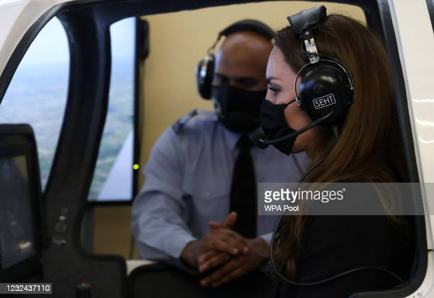 Catherine, Duchess of Cambridge, wearing black as a mark of respect following the Duke of Edinburgh's passing, visits 282 East Ham Squadron, Air...
