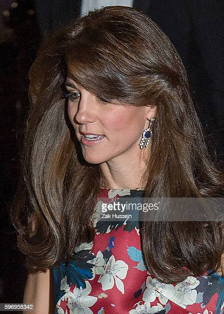 Catherine Duchess of Cambridge wearing diamond and sapphire fringe earrings as worn by the Queen Mother arriving at the 100 Women in Hedge Funds Gala...