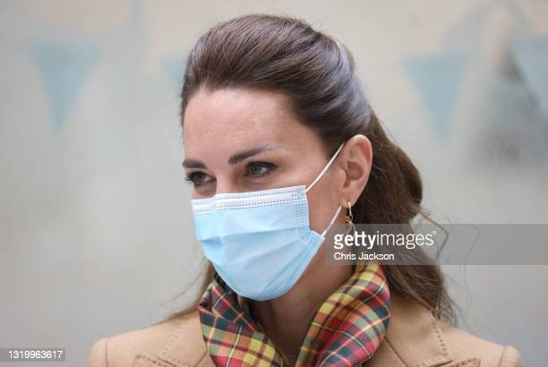 Catherine, Duchess of Cambridge wears a face mask as she officially opens The Balfour, Orkney Hospital with Prince William, Duke of Cambridge on day...