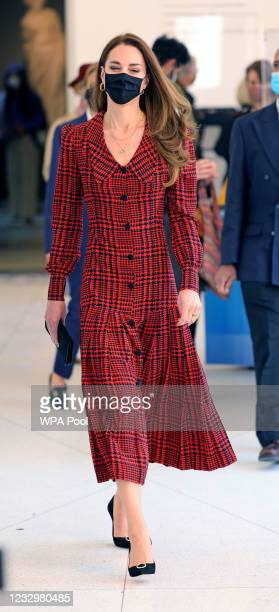 Catherine, Duchess of Cambridge wears a facemask during her visit at The V&A on May 19, 2021 in London, England.
