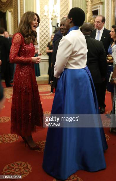 Catherine, Duchess of Cambridge welcomes guests to a reception to mark the UK-Africa Investment Summit at Buckingham Palace on January 20, 2020 in...