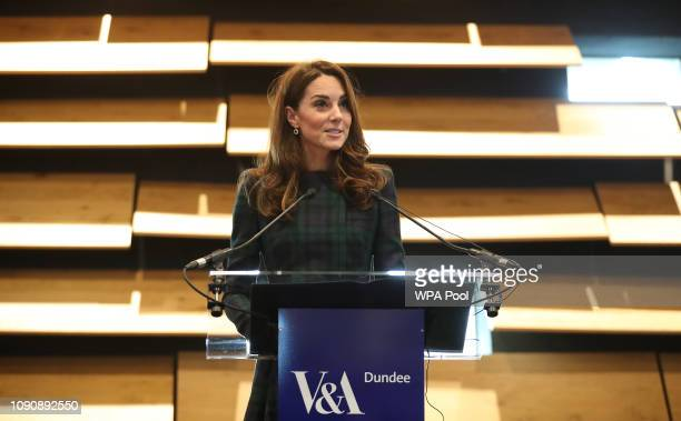 Catherine Duchess of Cambridge who is known as the Duchess of Strathearn in Scotland speaks during a visit to officially open the VA Dundee...