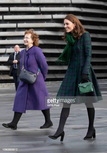 Catherine Duchess of Cambridge who is known as the Duchess of Strathearn in Scotland with museum chairman Lesley Knox during a visit to officially...