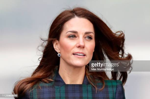 Catherine Duchess of Cambridge who is known as the Duchess of Strathearn in Scotland arrives to officially open VA Dundee Scotland's first design...