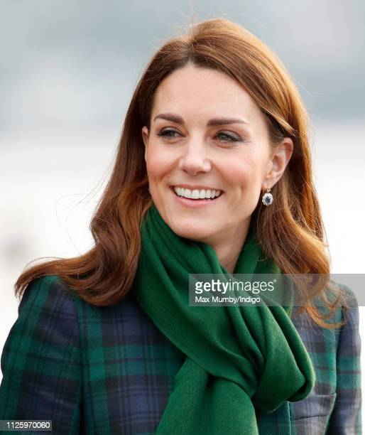 Catherine Duchess of Cambridge who is known as the Duchess of Strathearn in Scotland departs after officially opening VA Dundee Scotland's first...