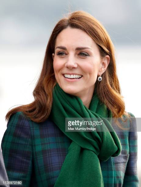 Catherine, Duchess of Cambridge, who is known as the Duchess of Strathearn in Scotland, departs after officially opening V&A Dundee, Scotland's first...