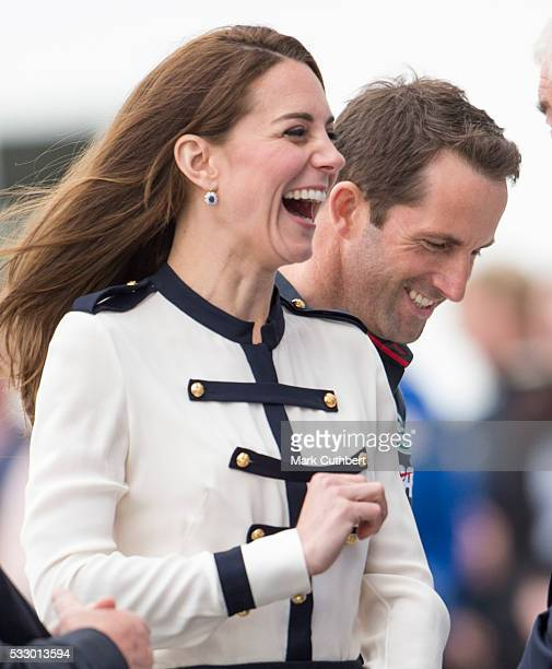 Catherine Duchess of Cambridge with Ben Ainslie during a visit to Ben Ainslie Racing and the 1851 trust on May 20 2016 in Portsmouth England