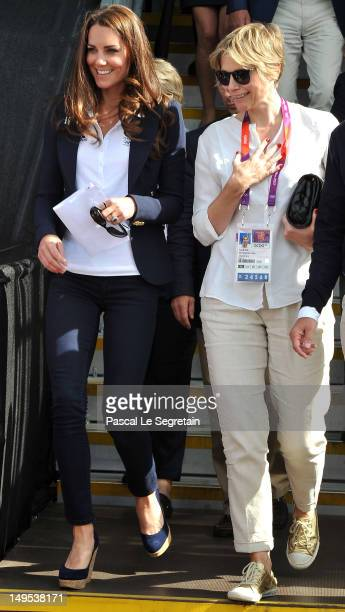 Catherine Duchess of Cambridge with Carole Annett at the Eventing Cross Country Equestrian event on Day 3 of the London 2012 Olympic Games at...