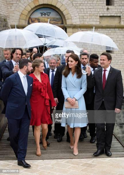 Catherine Duchess of Cambridge with Duchess Stephanie of Luxembourg and Hereditary Grand Duke Guillaume of Luxembourg visit the Drai Eechelen Museum...