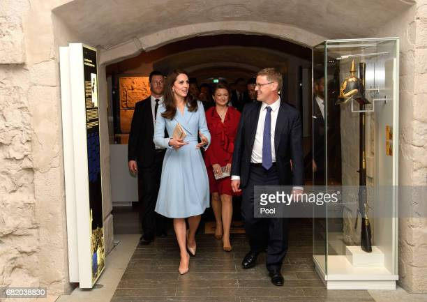 Catherine Duchess of Cambridge with Duchess Stephanie of Luxembourg visits the Drai Eechelen Museum on May 11 2017 in Luxembourg The Duchess will...