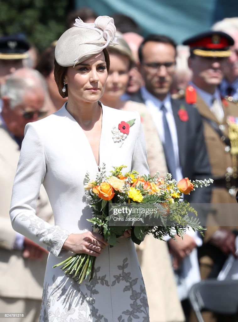 Catherine, Duchess of Cambridge with flowers during a ceremony at the Commonwealth War Graves Commisions's Tyne Cot Cemetery on July 31, 2017 in Ypres, Belgium. The commemorations mark the centenary of Passchendaele - The Third Battle of Ypres.