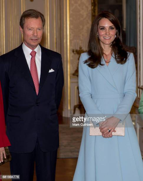 Catherine Duchess of Cambridge with Henri Grand Duke of Luxembourg at the Grand Ducal Palace during a one day visit to Luxembourg on May 11 2017 in...